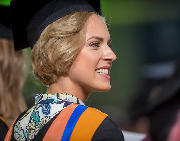Image of DMU student at a graduation cermeony