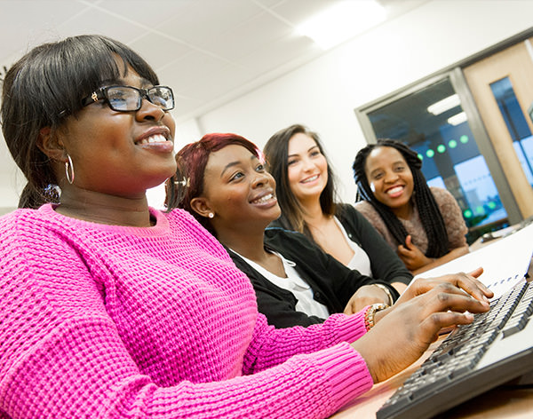 Image of DMU students taking part in an online chat