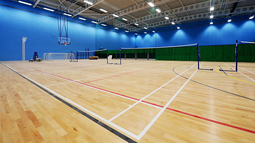 An image of the sports hall at the QEII Leisure Centre