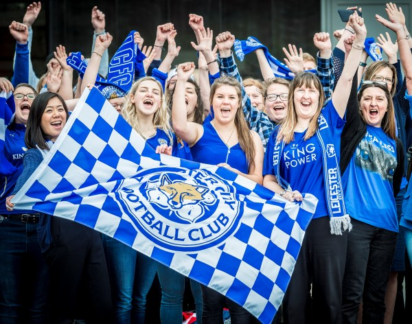 Come on Leicester! DMU students and staff unite under one giant blue banner!