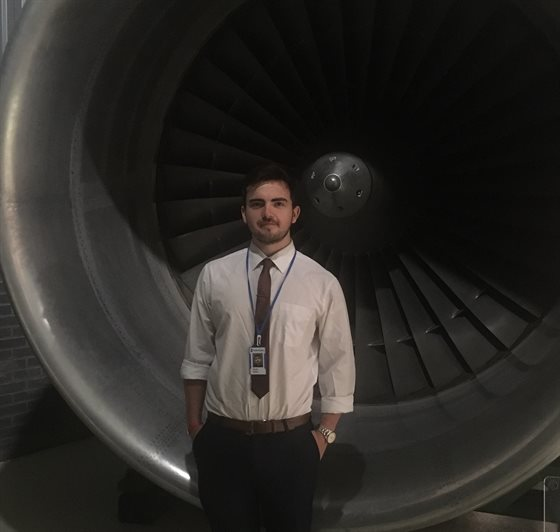 Gareth Watson with an RB211 engine
