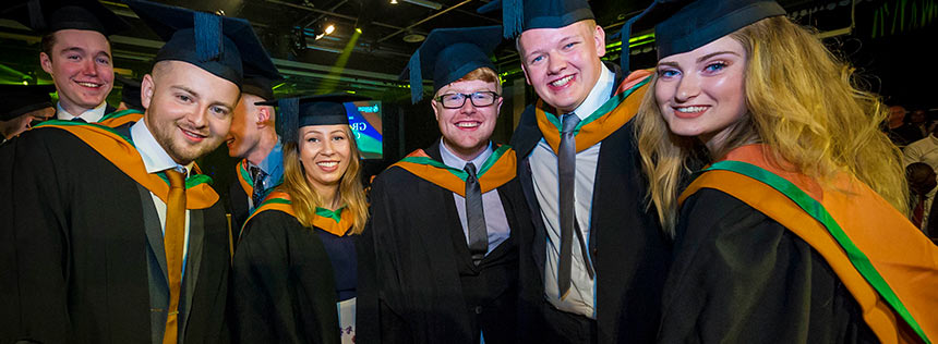 An image of DMU students at a summer graduation ceremony