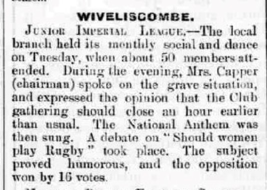 WOMAN RUGBY press cutting