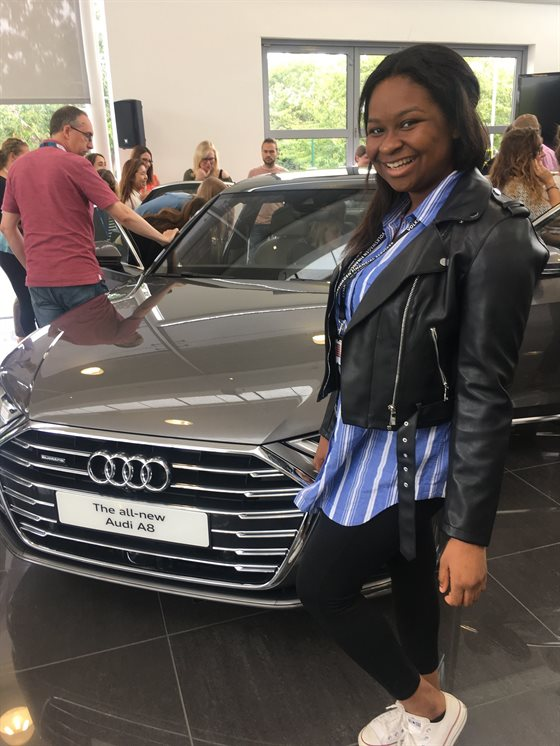 Vanessa Erivona with the new Audi A8 resized