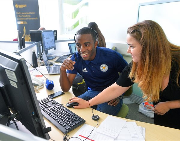 Foxes stars hit DMU phones and congratulate new students for Clearing