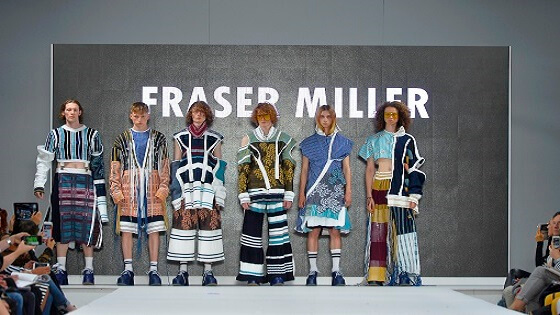 Photo from the Graduate Fashion Week 2018 of Fraser Miller's collection