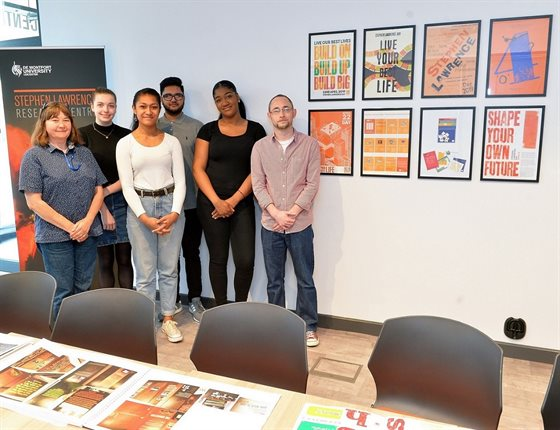 Dr Emma Powell with Graphic Design Illustration students in the new SLRC