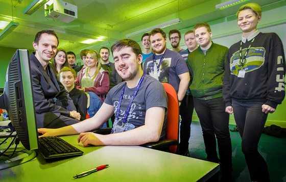 BT students in the cyber security lab at DMU
