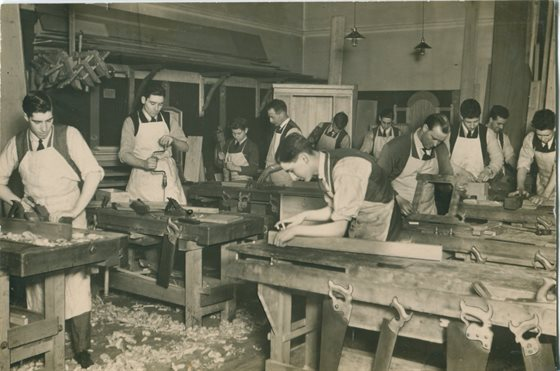 Carpentry class 1920s