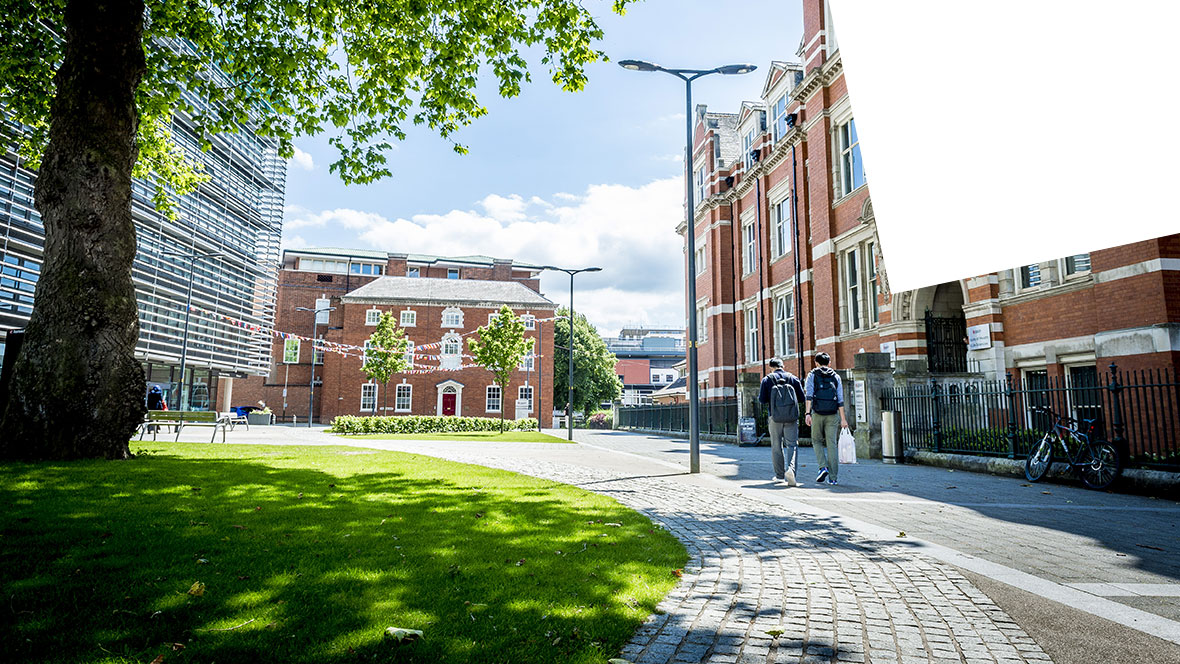 A photo of the DMU campus