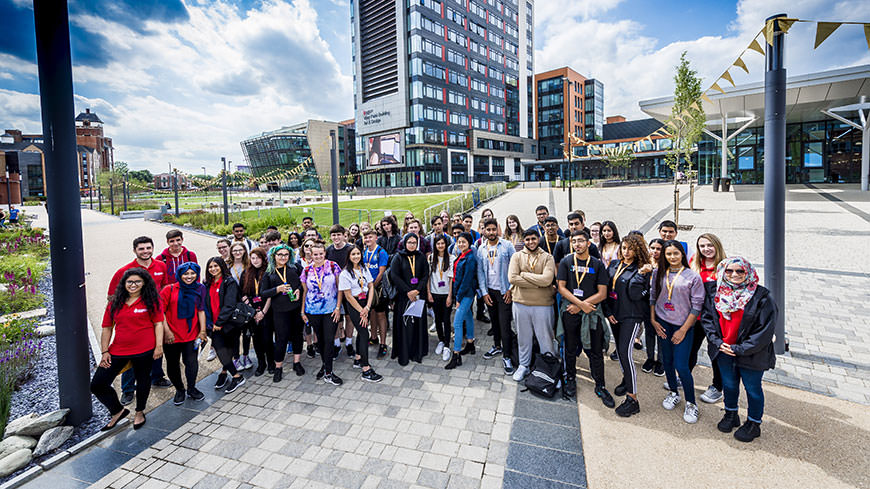 students on the DMU campus