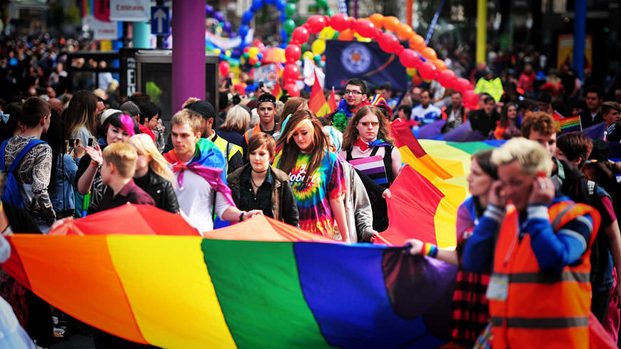 Image of DMU students at Pride event