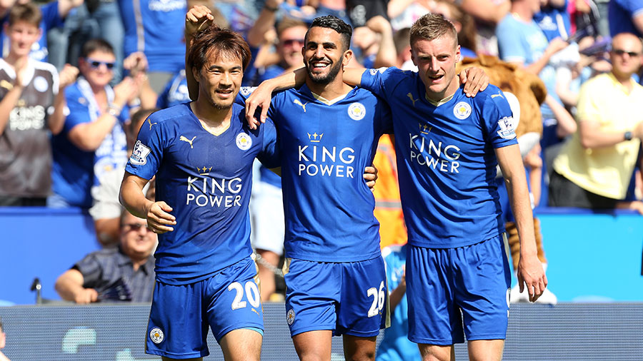 Leicester City Football Club's Shinji Okazaki, Riyad Mahrez and Jamie Vardy